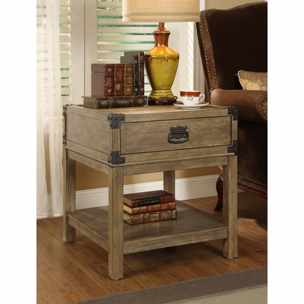 Coast To Coast Imports   Trunk End Table In Carmel Burnished Natural   67515
