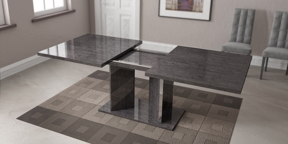 Athome Usa Sarah Dining Table With 1 Ext In Grey Birch Lacquer Finish Sadgrta03