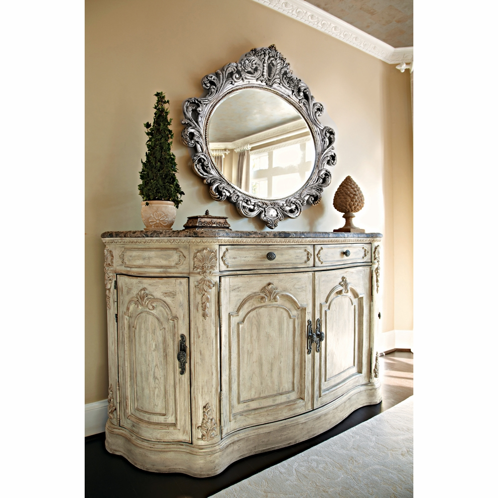 American Drew Jessica Mcclintock The Boutique Collection Buffet And Oval Decorative Mirror Silver Veil Finish 217 857w 040