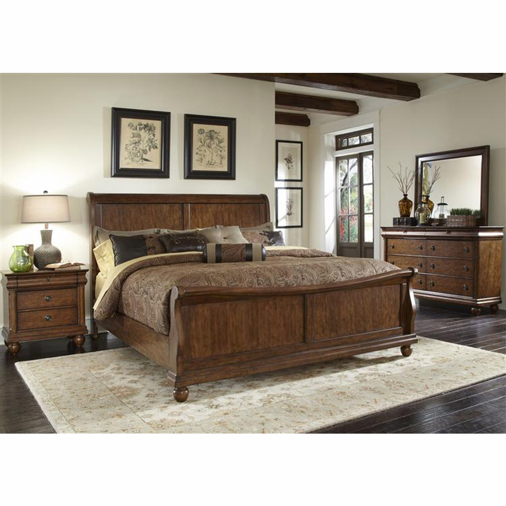 Liberty Furniture Rustic Traditions 4 Piece King Sleigh