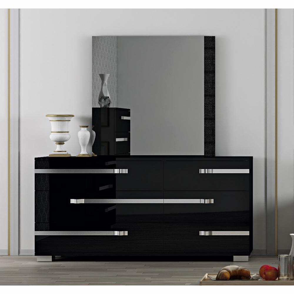 Ordinaire Athome USA   Volare 6/Drawer Double Dresser And Mirror In Black Lacquer  Finish   VOBBLCM01_VOBBLSP01