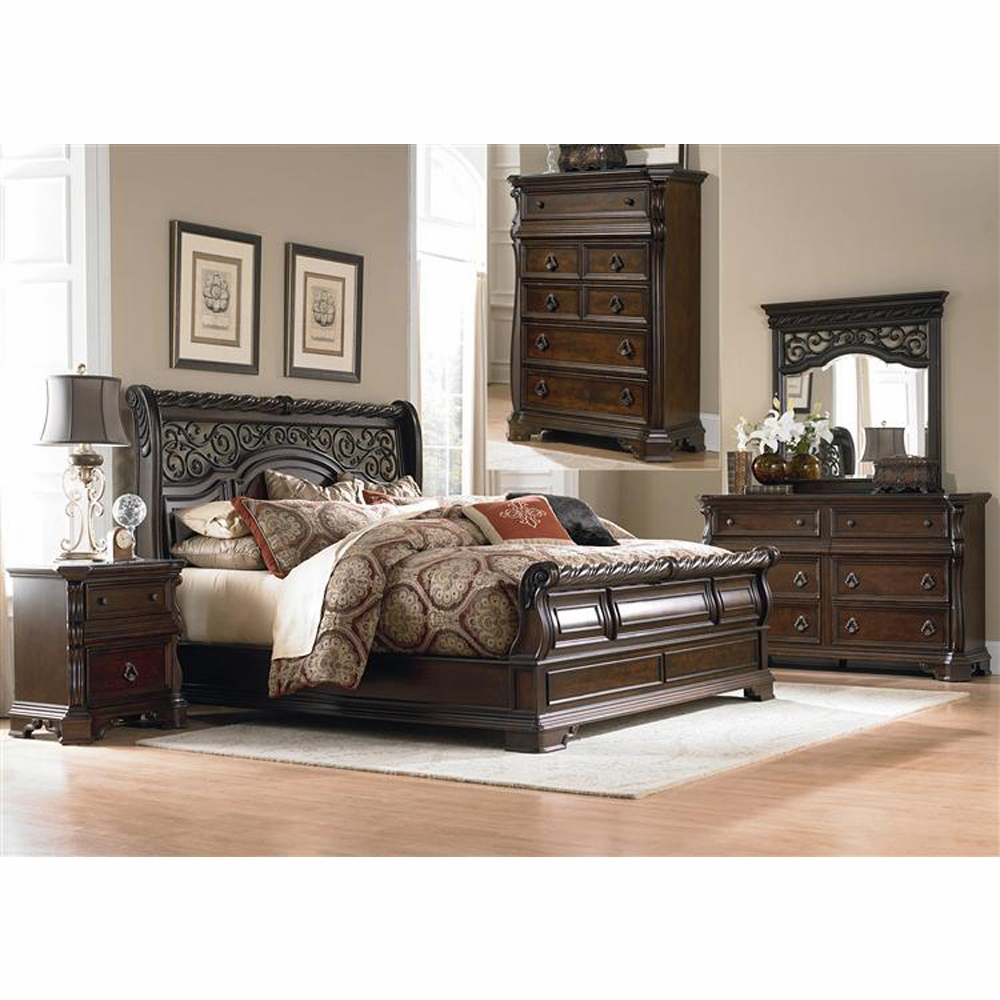 Liberty Furniture Arbor Place 5 Piece Queen Sleigh Bed Dresser Mirror Chest Night Stand