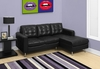 Monarch Specialties - Sofa Lounger Black Bonded Leather I 8380Bk - I-8380BK