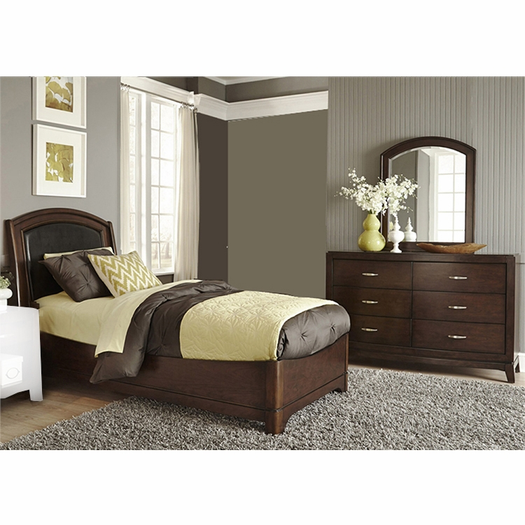 Liberty Furniture Avalon Youth 3 Piece Full Leather Bed Dresser Mirror Set 505 Ybr Flbdm