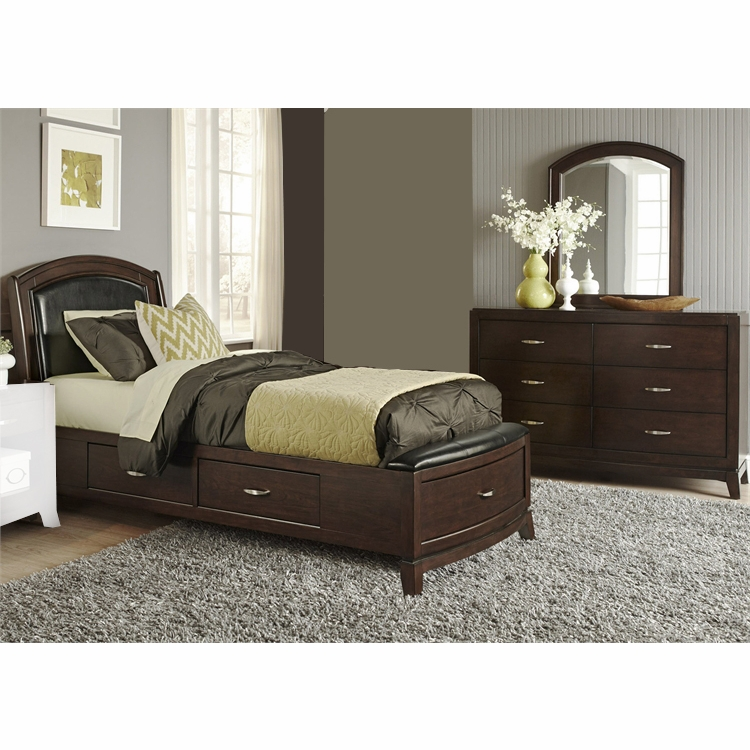 Liberty Furniture Avalon Youth 3 Piece Full One Sided Storage Bed Dresser Mirror Set 505