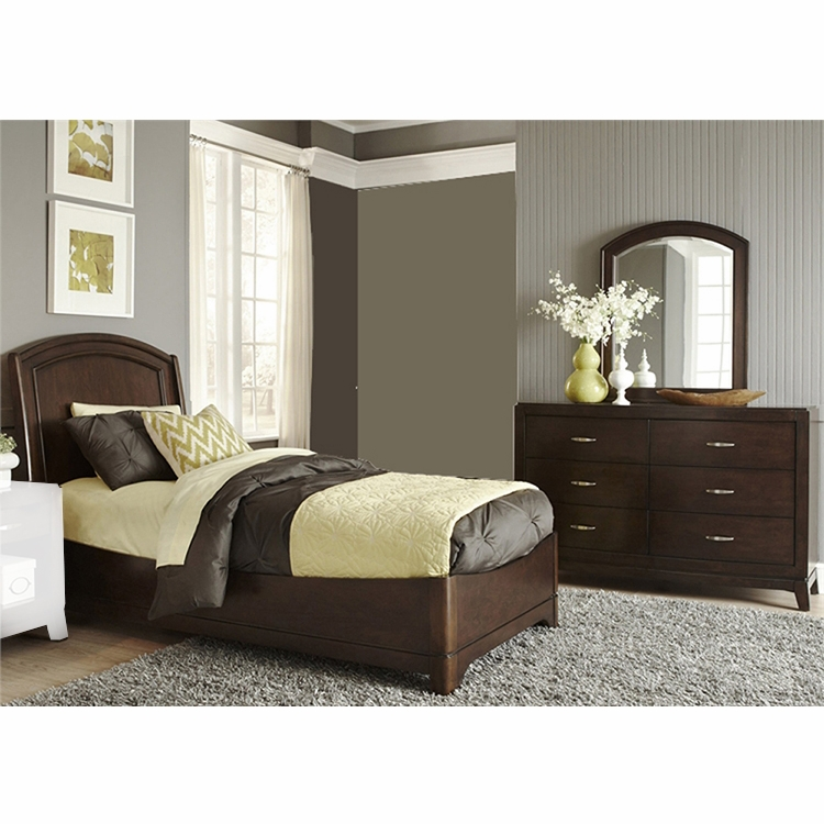Liberty Furniture Avalon Youth 3 Piece Full Platform Bed Dresser Mirror Set 505 Ybr Fpldm