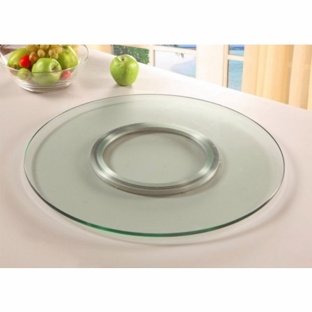 Chintaly Lazy Susan Round Clear Glass Spinning Tray 24
