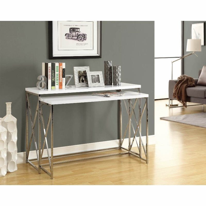 Monarch Specialties - Glossy White / Chrome Metal 2Pcs Console Table ...