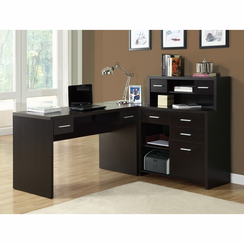 Monarch Specialties Cappuccino Hollow Core L Shaped Home Office Desk I 7018