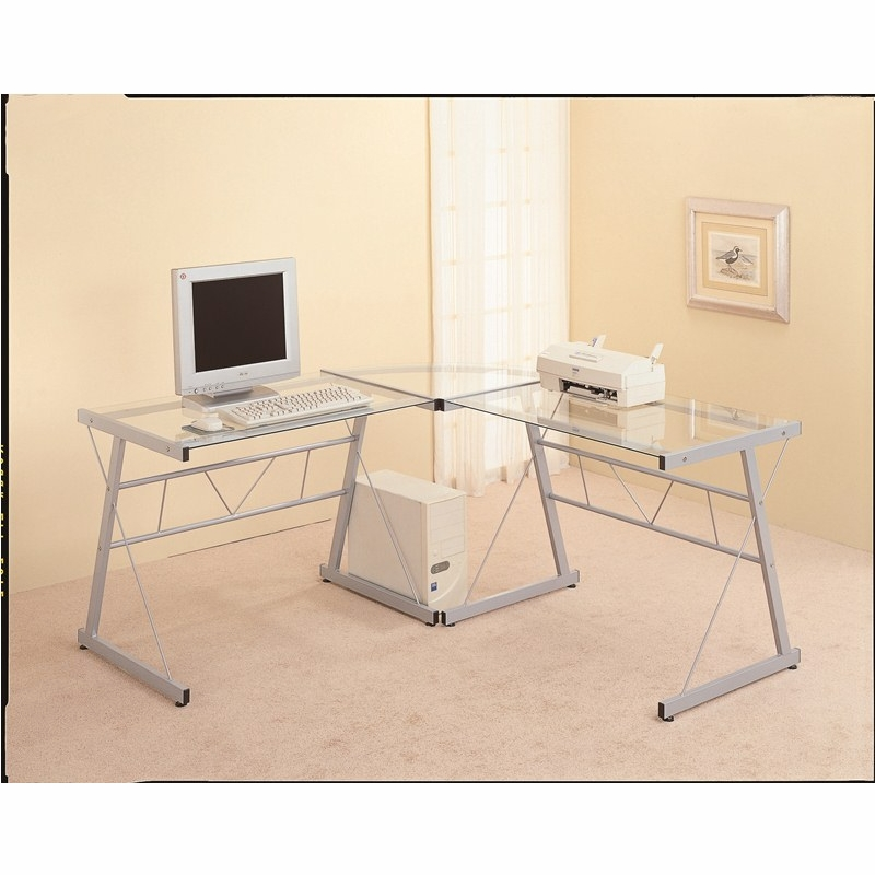 Monarch Specialties Black Metal L Shaped Computer Desk With Tempered Glass I 7172