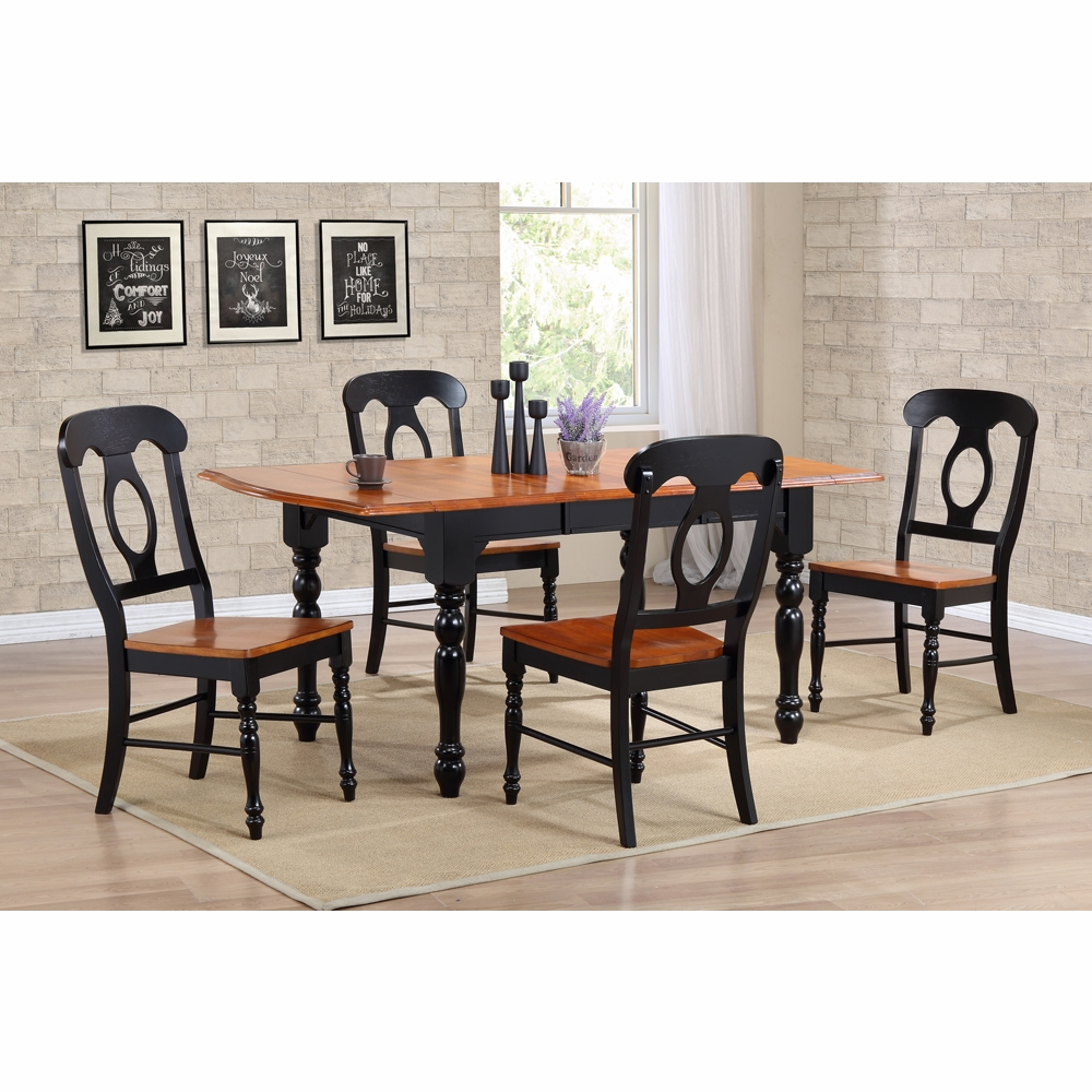 Sunset Trading   5 Piece Drop Leaf Extension Dining Table Set With Napoleon  Chairs   DLU TDX3472 C50 BCH5PC