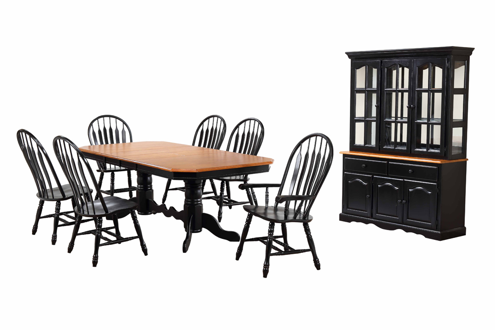 Sunset Trading 9 Piece Double Pedestal Trestle Dining