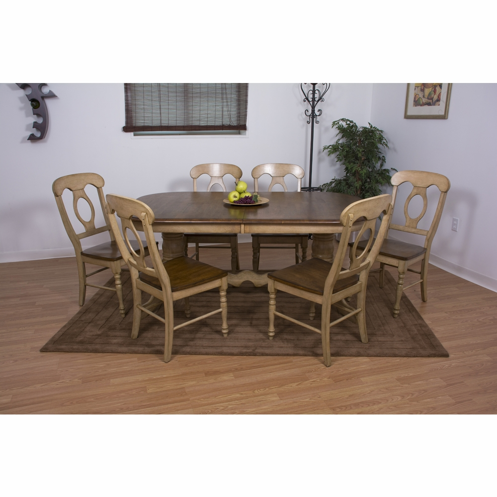 Sunset Trading   7 Piece Brook Double Pedestal Extension Dining Set With Napoleon  Chairs   DLU BR4296 C50 PW7PC