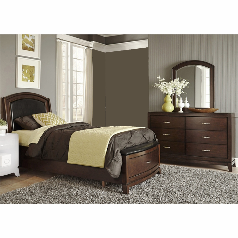 Liberty Furniture Avalon Youth 3 Piece Twin Leather Storage Bed Dresser Mirror Set 505