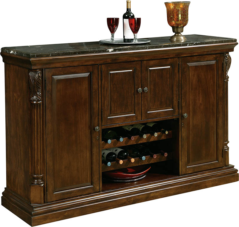 Howard Miller Niagara Console Rustic Cherry Wine & Bar Ca...