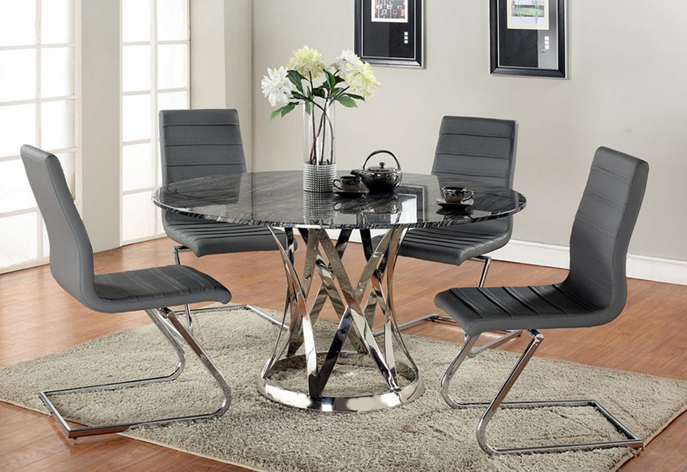 Chintaly Janet 5 Piece Dining Set With Marble Top - JANET...