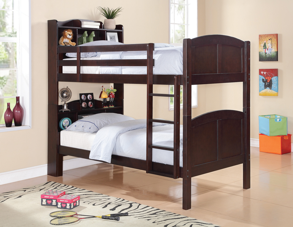 Coaster Furniture Parker Bookcase Bunk Bed In Cappuccino ...