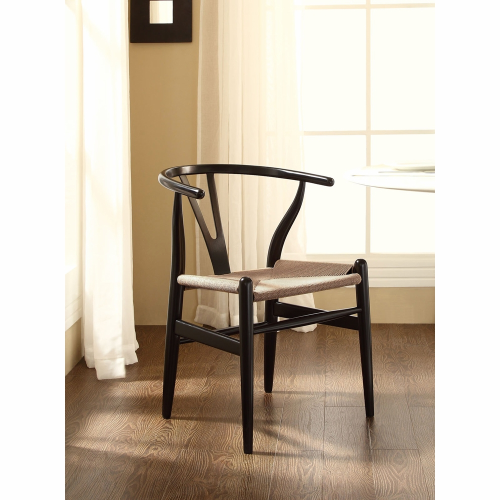 Modway Amish Wooden Dining Chair In Black Eei 552 Blk