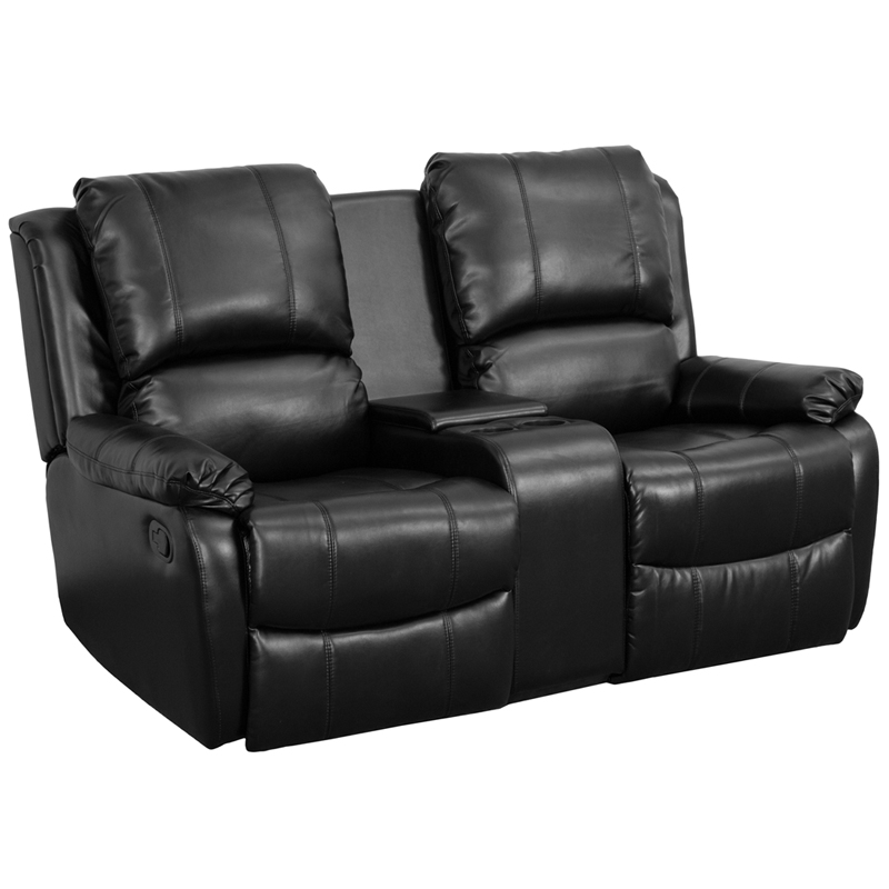 Flash Furniture   Black Leather Pillowtop 2 Seat Home Theater Recliner With  Storage Console   BT 70295 2 BK GG