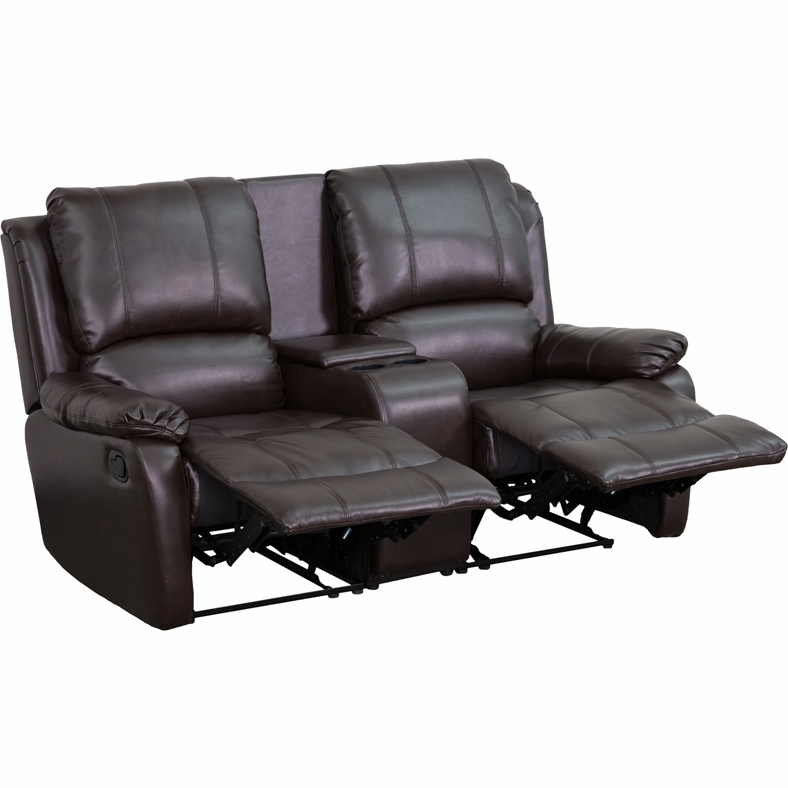 Flash Furniture   Brown Leather Pillowtop 2 Seat Home Theater Recliner With  Storage Console ...