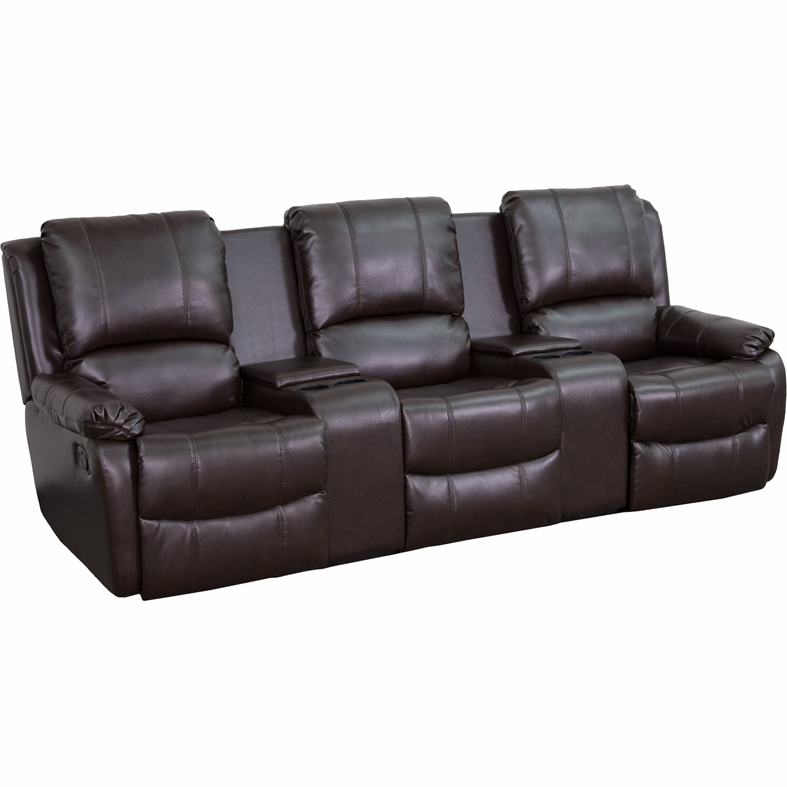 Charmant Flash Furniture   Brown Leather Pillowtop 3 Seat Home Theater Recliner With  Storage Consoles ...