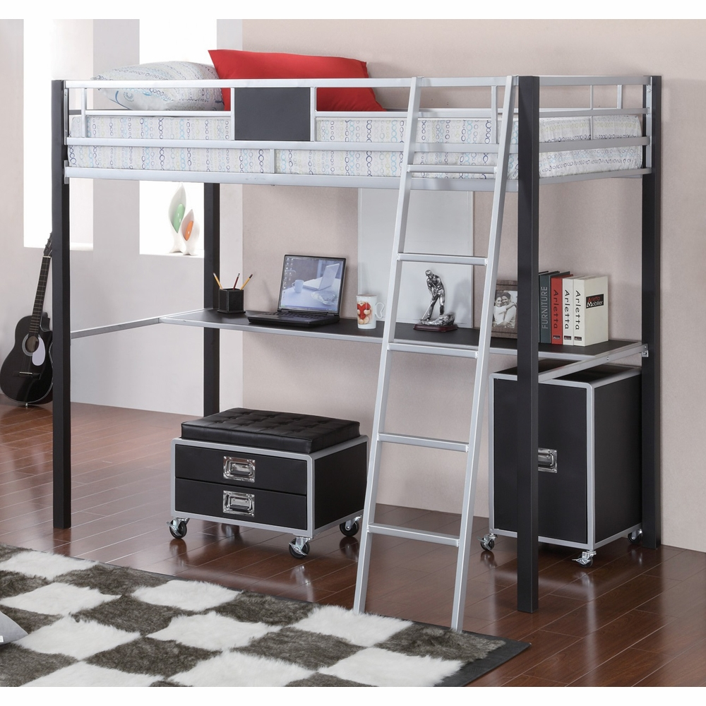 Coaster Leclair Twin Size Loft Bed In Black Silver