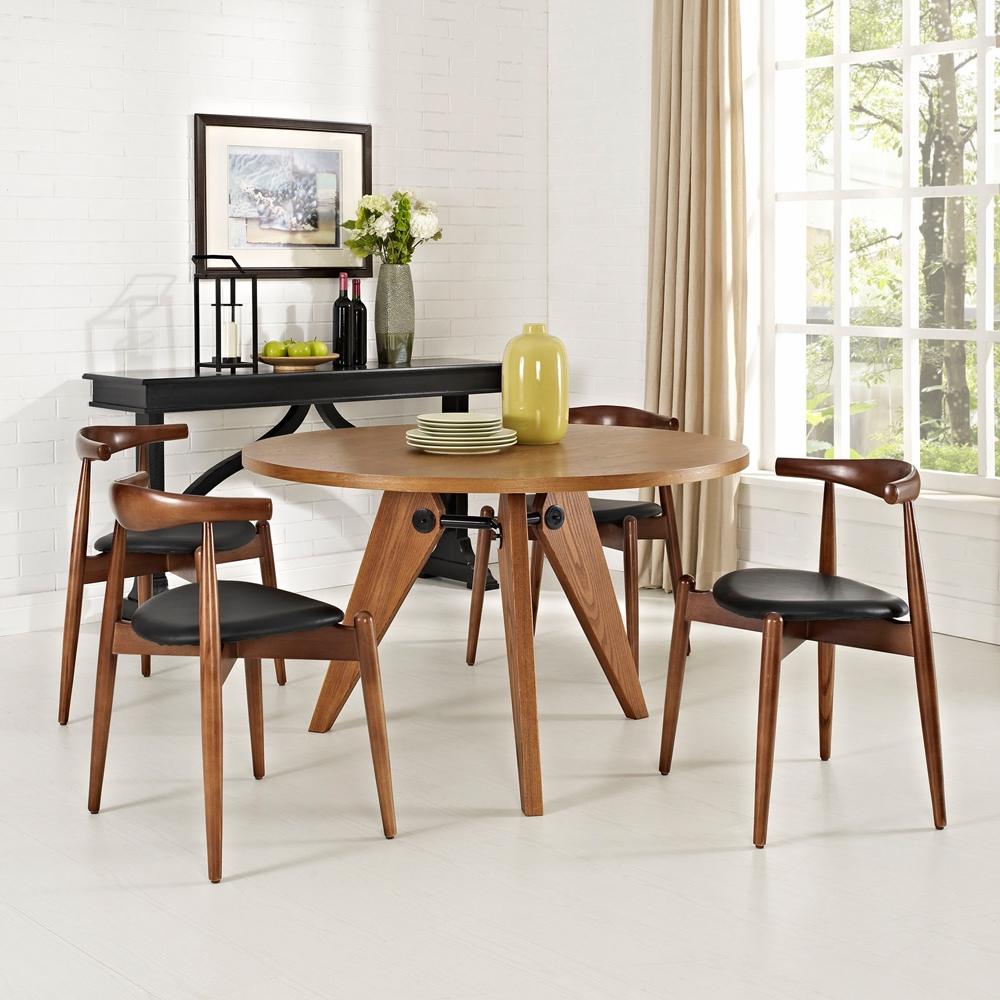 Modway Stalwart Dining Chairs And Table Set Of In Dark Walnut - Dark walnut dining table and chairs