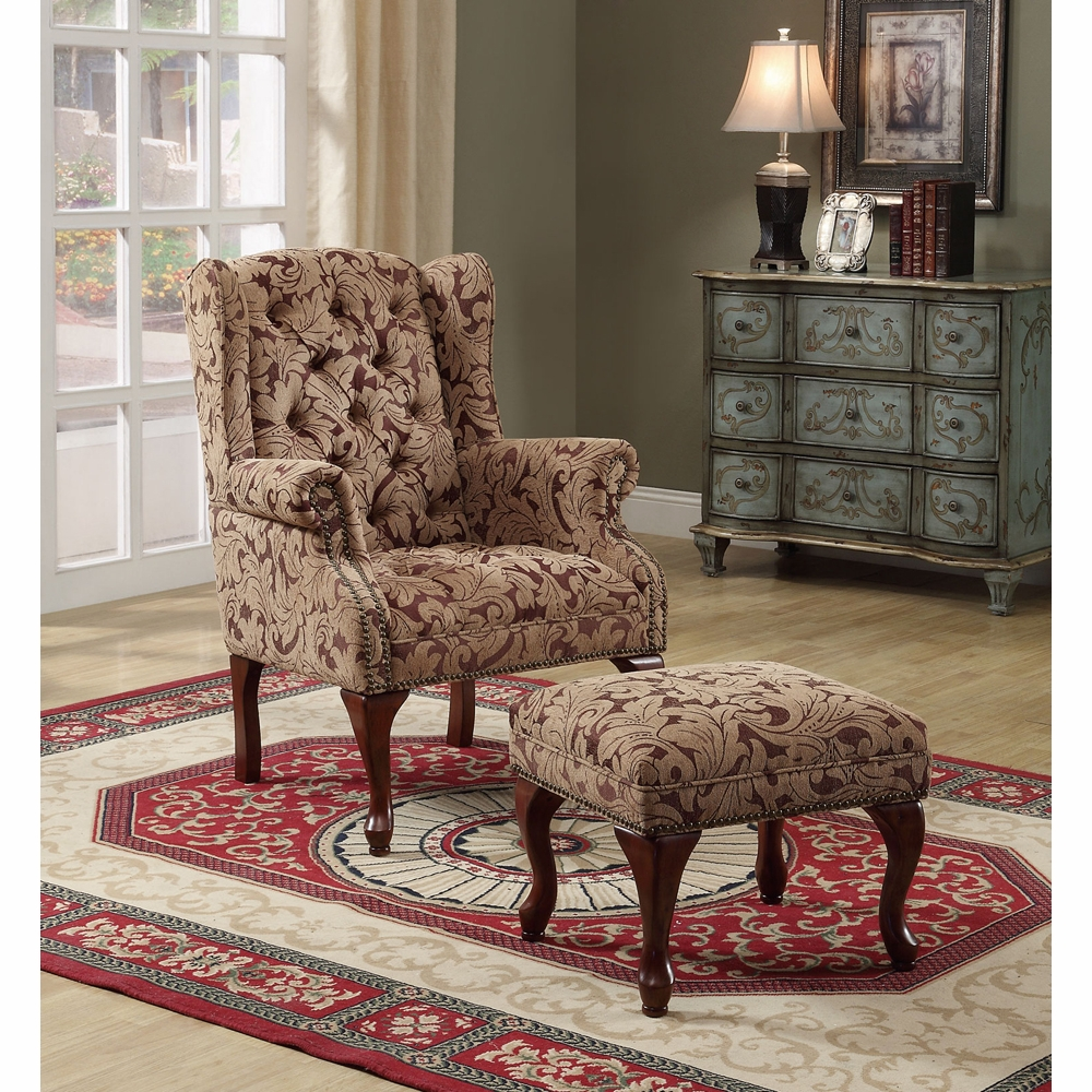Coaster Accent Chair Ottoman Light Brown Burgundy 3932b