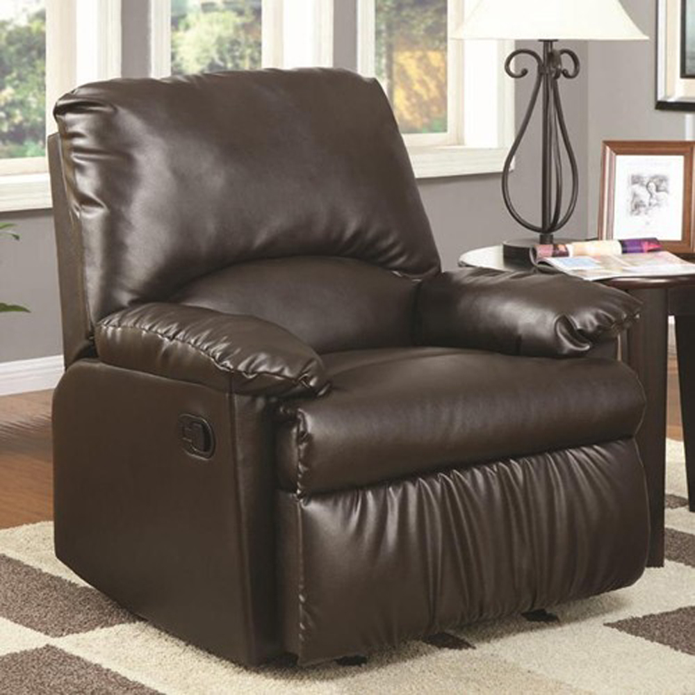 Coaster Brown Vinyl Glider Recliner 600270