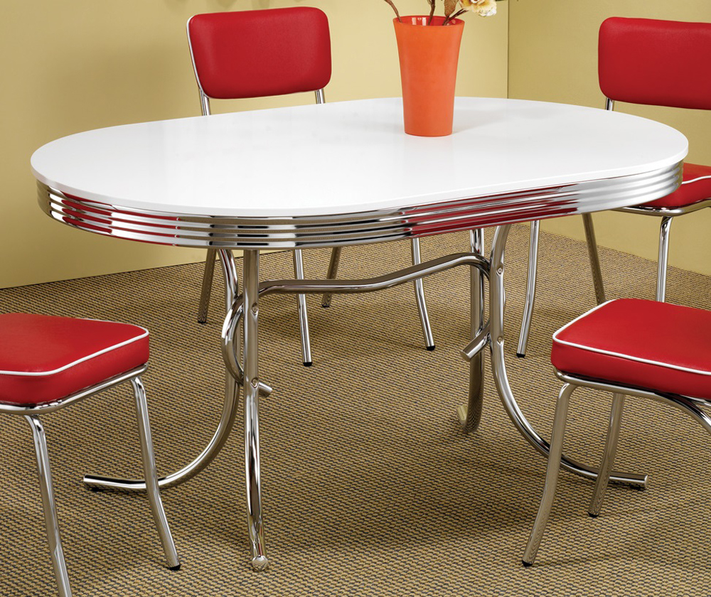 Coaster Oval Retro Table White Chrome 2065