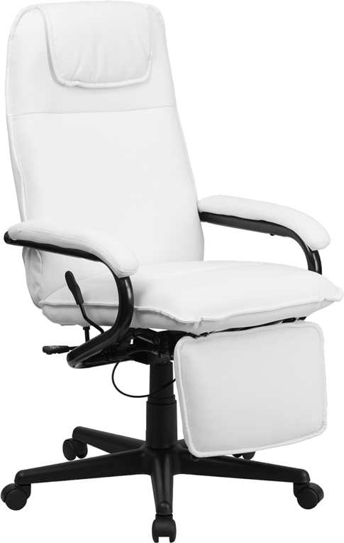 flash furniture high back white leather executive reclining office