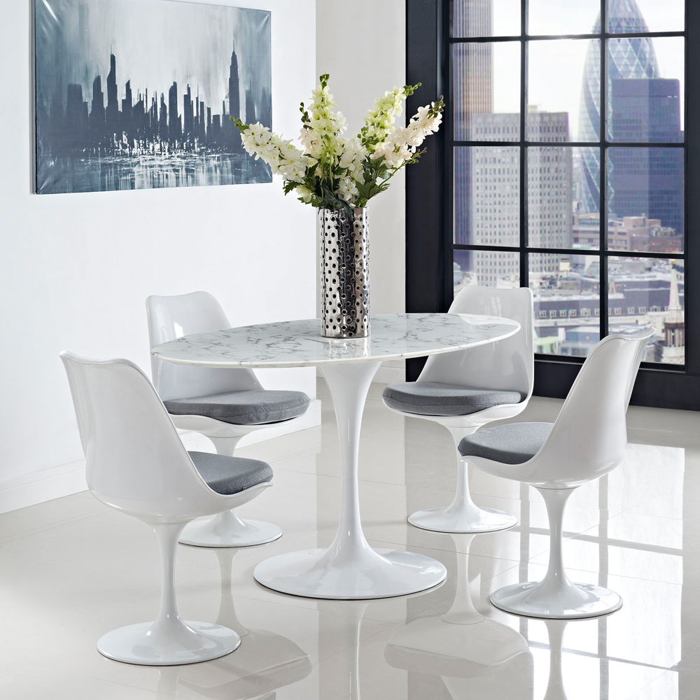"Oval Dining Room Table: Lippa 60"" Oval-Shaped Dining Table In White"
