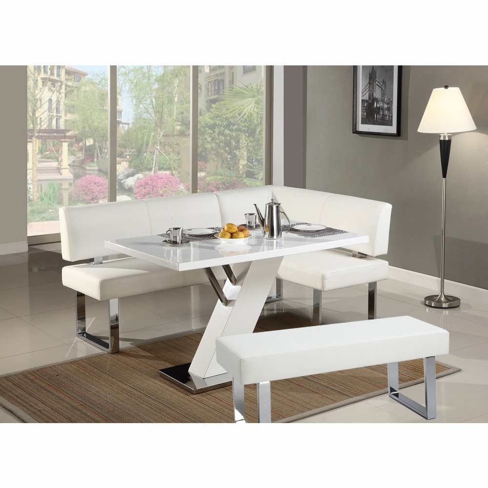 Chintaly   Linden 3 Piece Dining Table Nook And Bench Set    LINDEN DT_NOOK_BCH WHT