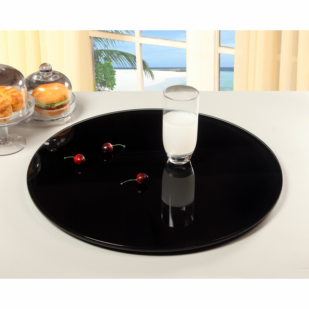 Chintaly Lazy Susan 24 Round Glass Rotating Tray Glass