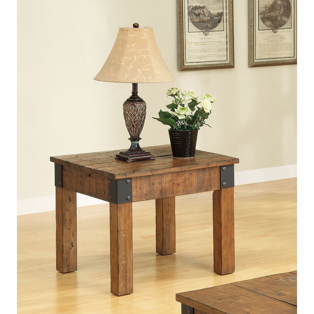 Coaster end table rustic brown
