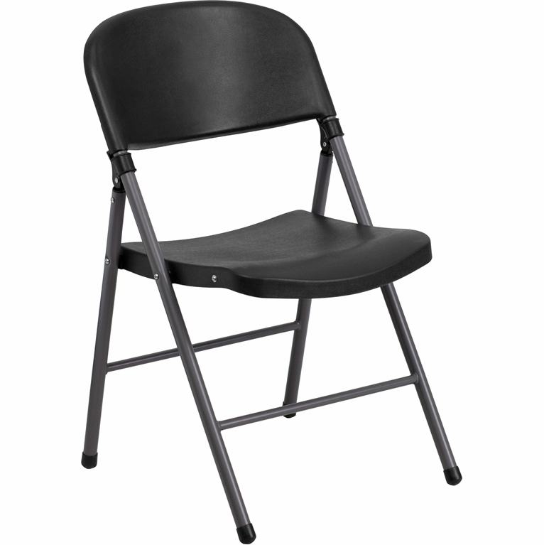 Beau Flash Furniture   Hercules Series 330 Lb. Capacity Black Plastic Folding  Chair With Charcoal Frame ...