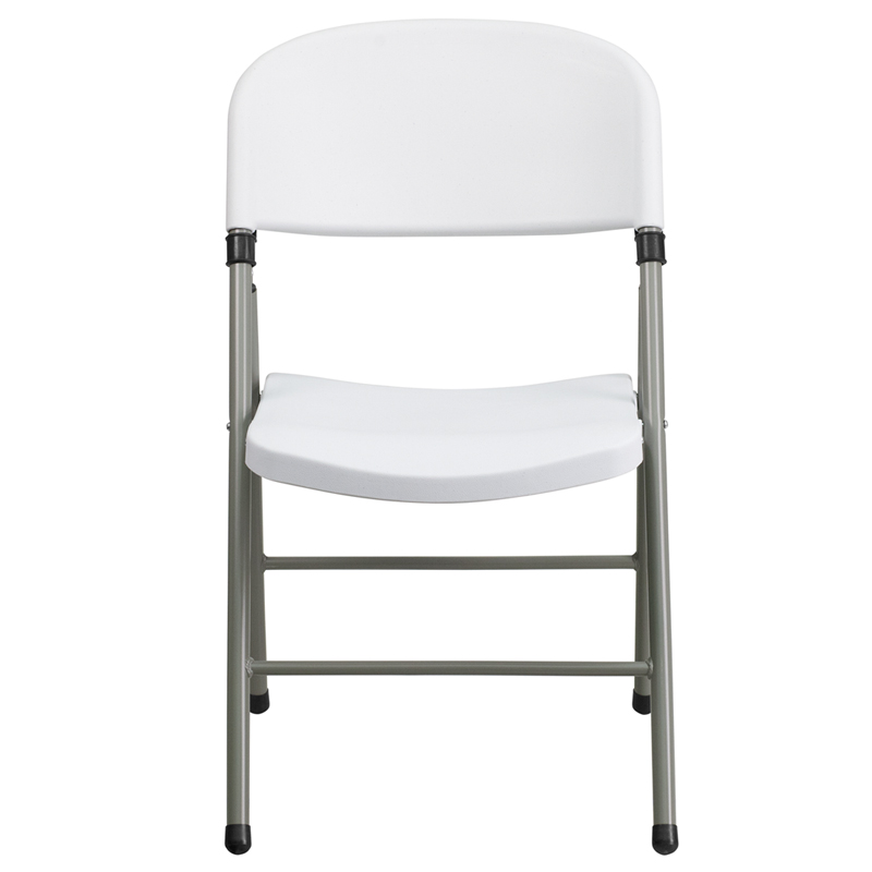 Flash Furniture   Hercules Series 330 Lb. Capacity White Plastic Folding  Chair With Gray Frame   DAD YCD 70 WH GG