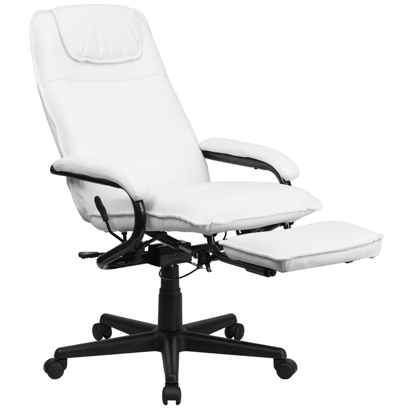 Flash Furniture   High Back White Leather Executive Reclining Office Chair    BT 70172 WH GG