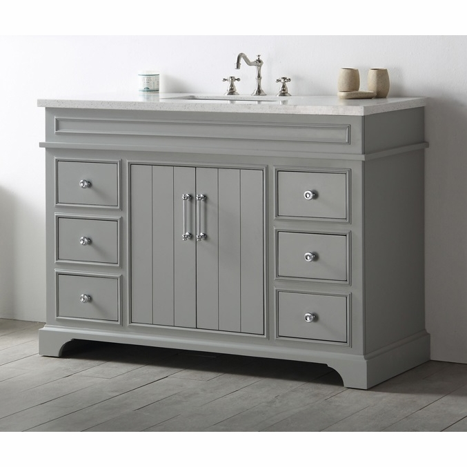 Legion Furniture 48 Sink Vanity With Quartz Top In Cool Grey No Faucet Wh7748 Cg