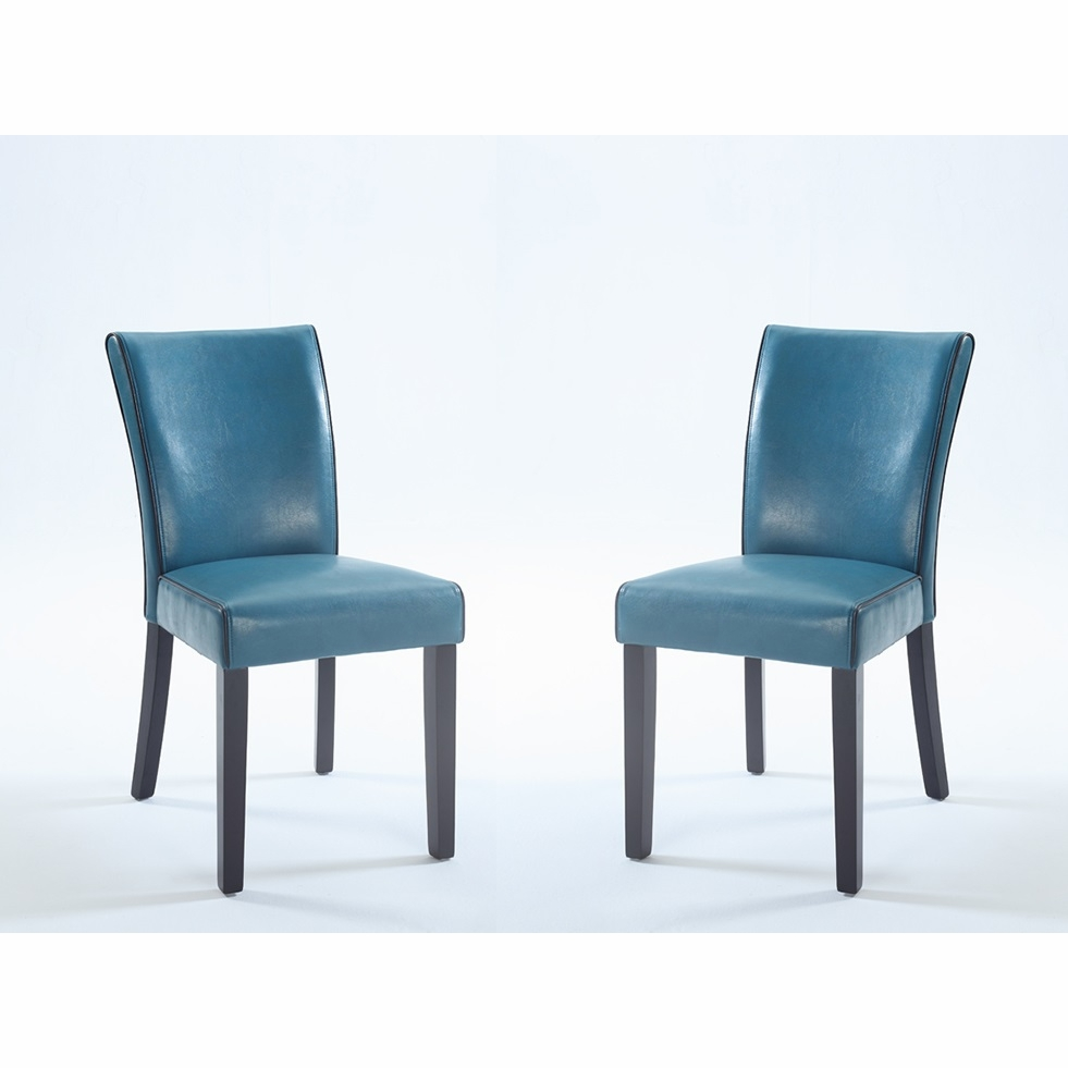 Elegant Chintaly   Michelle Bonded Leather Parsons Chair In Blue Set Of 2    MICHELLE PRS SC BLU