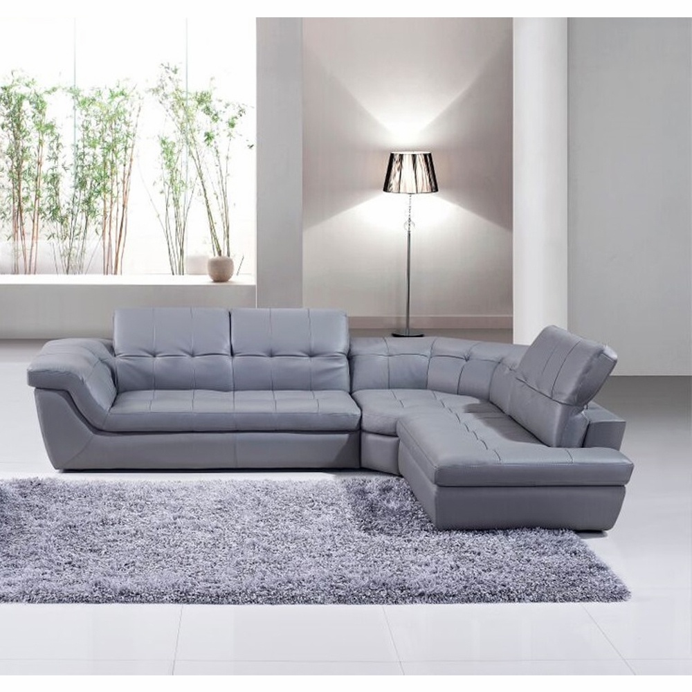 Jm furniture 397 italian leather sectional grey color for Italian leather sectional sofa chaise