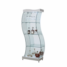 Genial Chintaly   S Shaped Glass Curio/White   6618 CUR WHT