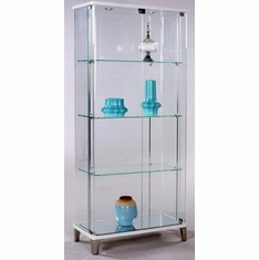 Attrayant Chintaly   Rectangular Glass Curio W/ Bent Glass Back In Gloss  White/Starphire