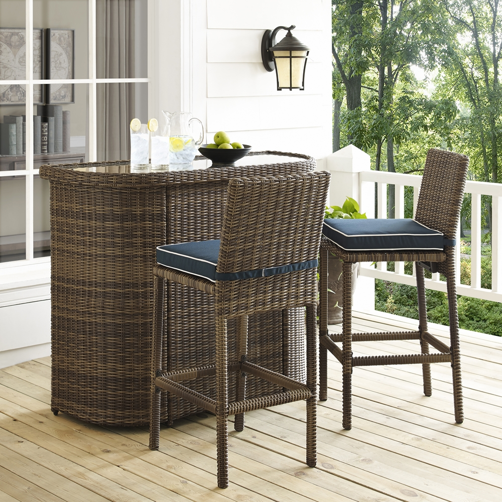 Charmant Crosley Furniture   Bradenton 3 Piece Outdoor Wicker Bar Set   Bar U0026 Two  Stools With Navy Cushions ...