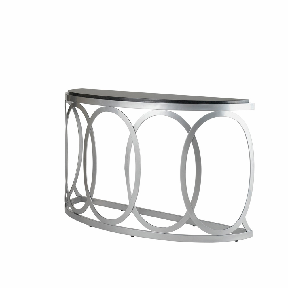 Beau Allan Copley Designs   Alchemy Half Moon Console Table With Glass Top On  Mirror Powder Coated Base ...