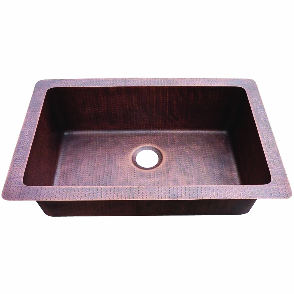 Yosemite Home Decor Farmhouse Copper Sink Hammered Sing Bowl Css1653 H