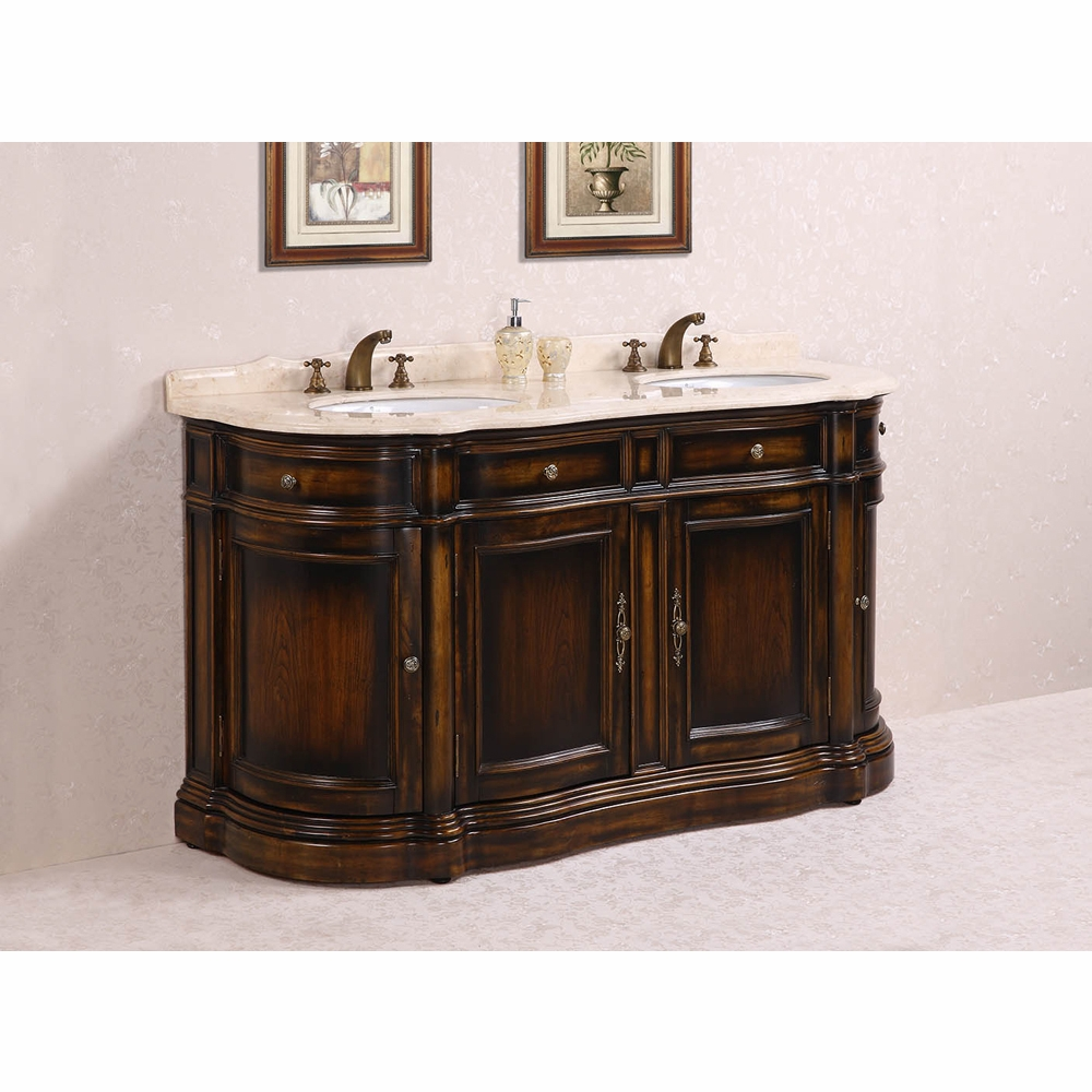Legion Furniture 66 Solid Wood Sink Vanity With Marble And Backsplash In Antique Brown No Faucet Wh3066