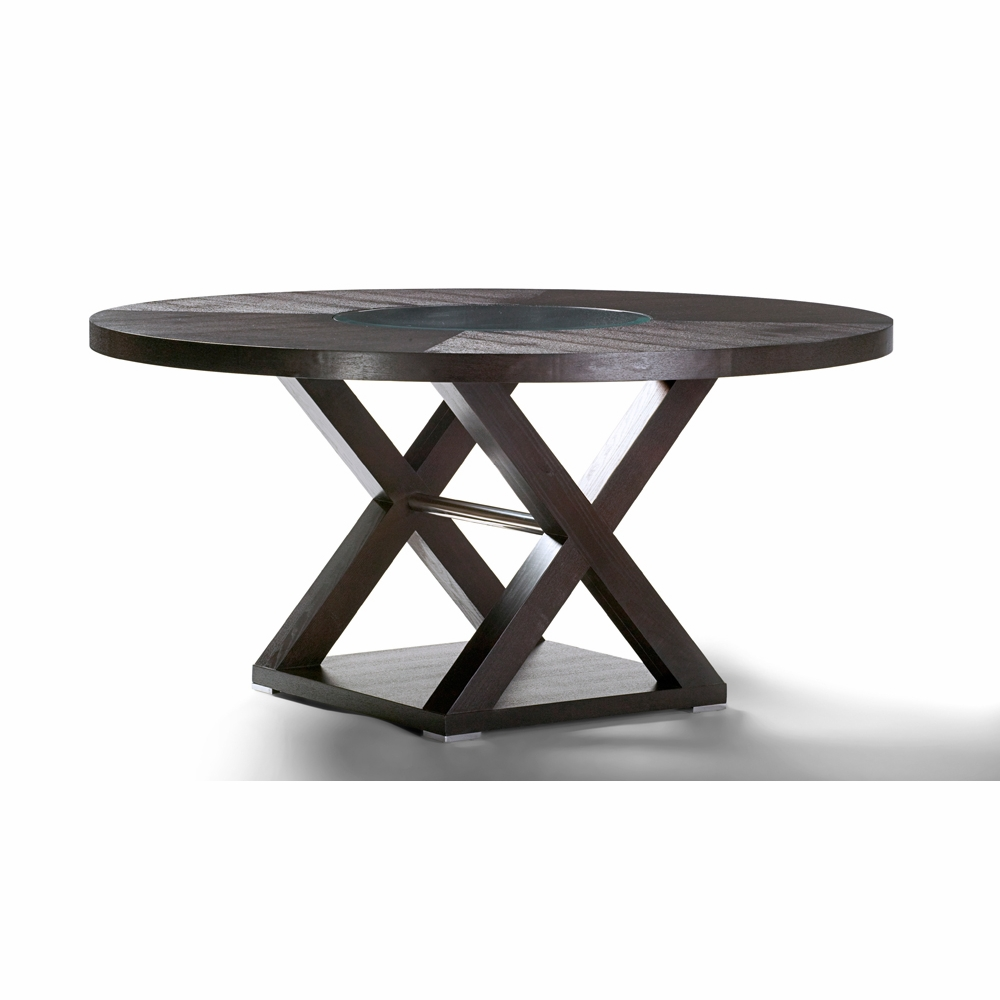 Allan Copley Designs Halifax 60 Inch Round Wood Top Dining Table In Espresso Finish With Brushed