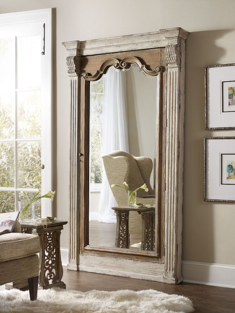 hooker furniture chatelet floor mirror w jewelry armoire storage 5351 50003. Black Bedroom Furniture Sets. Home Design Ideas