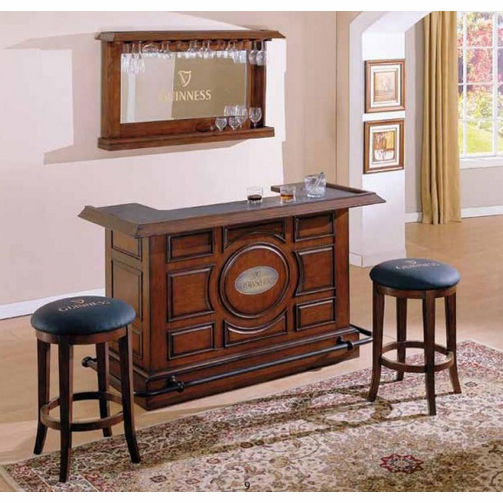 Eci Furniture Guinness Front Bar Back Mirror And Two Backless Stools Set